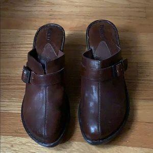 Born dark brown leather vintage clog